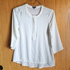 Express White 3/4 Sleeves with Zipper Front